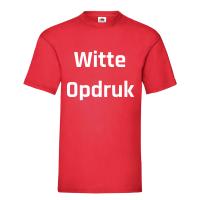 Rood Shirt Witte Opdruk